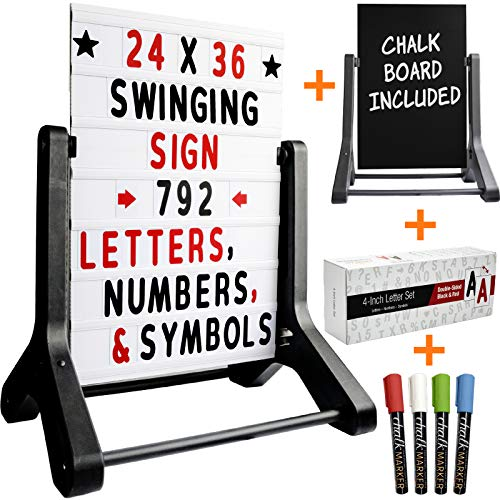 "Swinging Changable Message Sidewalk Sign: 24"" x 36"" Sign with 792 Pre-Cut Double Sided Letters and Storage Box. Includes Bonus Black Sign Board & 4 Liquid Chalkboard & Letter Board"