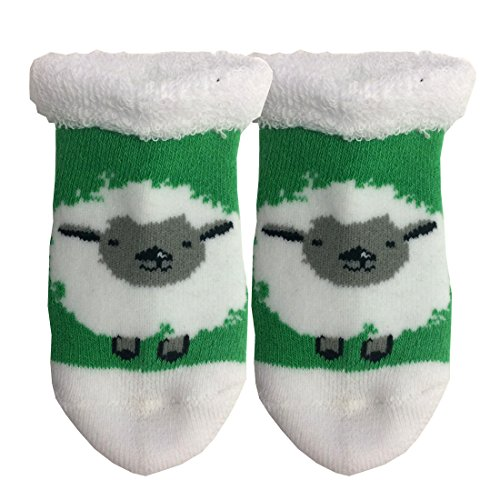 Traditional Craft Ltd. White and Green Wooly Irish Sheep Baby Booties