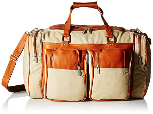 Piel Leather 20In Duffel Bag with Pockets, Saddle, One Size by Piel Leather
