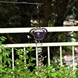 Ymeibe Galvanized Wind Spinner Hanging Garden Wind Spinner with Helix Spiral Tail and Glass Ball 3-D Stainless Steel Kinetic Twisting Decor for Patio, Deck or Yard (Butterfly/Colored)