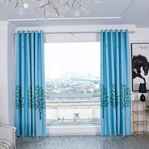 JCarry Curtains for Bedroom, Nordic Style Blackout Curtain Tree Printed Darkening Drapes Door Window for Living Room Thermal Insulated Grommet Top Drapes - One Panel 100x250cm (Blue)