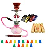 "Zebra Smoke Starter Series: 11"" 1 Hose Taj Mahal Pumpkin Hookah Combo Kit Set w/ Instant Charcoal (Like Three Kings Charcoal), Hydro Herbal Molasses(like Blue Mist), and Hookah Mouth Tips Smokes More Then Hookah Pen (Pink)"