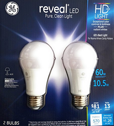 GE 10.5 W Reveal LED HD Light Bulbs (2-Pack), 60w Replacement, Dimmable, Radiant White Clarity, Energy Efficient