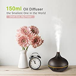 VicTsing 150ml Mini Palm-Sized Aroma Essential Oil Diffuser, Wood Grain Cool Mist Humidifier for Office Home Study Yoga Spa, 14 Color Lights (Black)