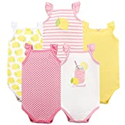 Hudson Baby Baby Sleeveless Cotton Bodysuits, 5 Pack, Lemonade, 3-6 Months