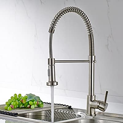 Touch on Faucet Fapully P100320 Single Handle Solid Brass Pull Out Kitchen Sink Faucet