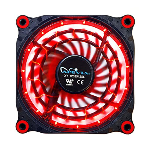 APEVIA 12L-DRD 120mm Silent Black Case Fan with 15 x Red LEDs & 8 x Anti-Vibration Rubber Pads by Apevia (Image #4)