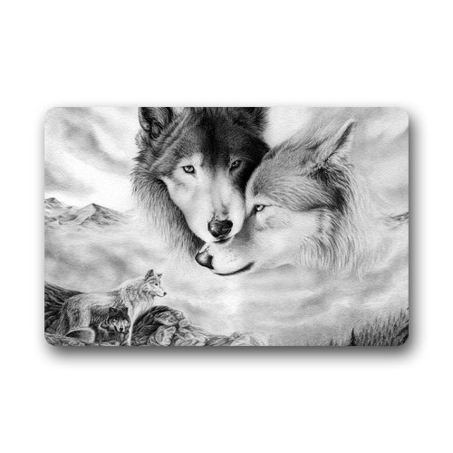 Shirley's Door Mats Custom Wolf Love Home Doormats Top Fabric&Rubber Doormat Bathroom Welcome Mats Floor Mat Rug Carpets Indoor/Outdoor (23.6