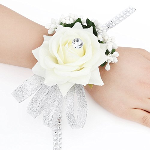 FAYBOX Velvet Open Rose Silvery Bling Ribbon Rhinestone Stretch Bracelet Wedding Prom Wrist Corsage Hand Flower Pack of 4 Ivory