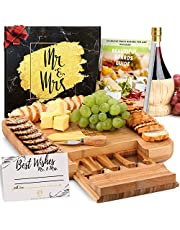 DELUXY Mr. and Mrs. Cheese Board - Perfect Bridal Shower Gifts For Bride, Wedding Gifts For Couples, Engagement Gifts For Couples - Charcuterie Boards Guide and Best Wishes Card Included