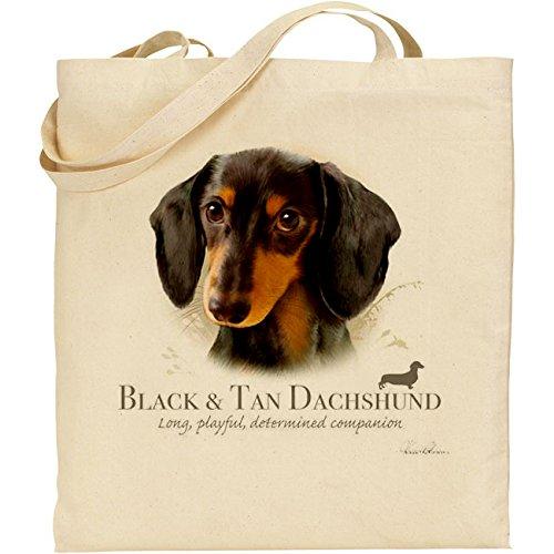 Tb–nero e marrone pelo lungo cane bassotto cotone Borsa