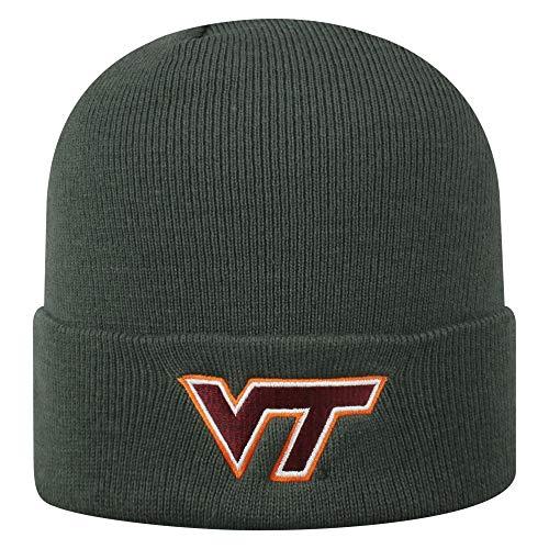 Top of the World NCAA Virginia Tech Hokies Men's Winter Knit Cuffed Charcoal Hat, Charcoal