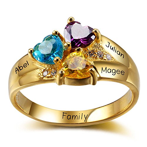 Diamondido Personalized Mothers Family Simulated Birthstone Rings Engraved 3 Childrens Names Promise Rings for Her (10.5)