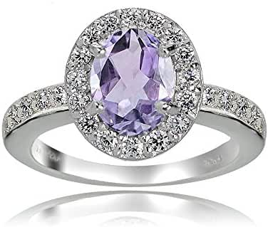 Sterling Silver Amethyst and White Topaz Oval Halo Ring