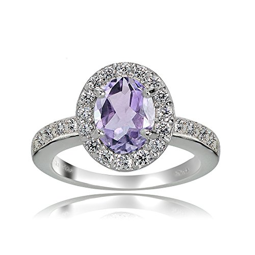 Ice Gems Sterling Silver Amethyst and White Topaz Oval Halo Ring