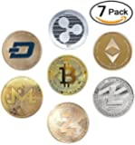 HODL's Cryptocurrency Gift Set Gold & Silver Metal Crypto Coins - Bitcoin Ethereum Litecoin Ripple Monero Dash Zcash (BTC ETH LTC XRP ZEC XMR Dash) [Pack of 7 Coins]