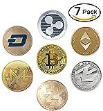 HODL's Cryptocurrency Gift Set Gold & Silver Metal Crypto Coins - Bitcoin Ethereum Litecoin Ripple Monero Dash Zcash (BTC ETH LTC XRP ZEC XMR DASH) [Pack of 7 Coins]