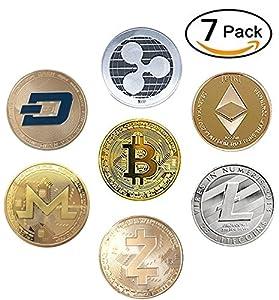 7 Coin Cryptocurrency Gold & Silver Metal Crypto Coins - Bitcoin Ethereum Litecoin Ripple Monero Dash Zcash (BTC ETH LTC XRP ZEC XMR DASH) [Pack of 7 Coins]