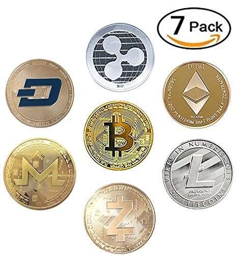 Hodls Cryptocurrency Gift Set Gold   Silver Metal Crypto Coins   Bitcoin Ethereum Litecoin Ripple Monero Dash Zcash  Btc Eth Ltc Xrp Zec Xmr Dash   Pack Of 7 Coins