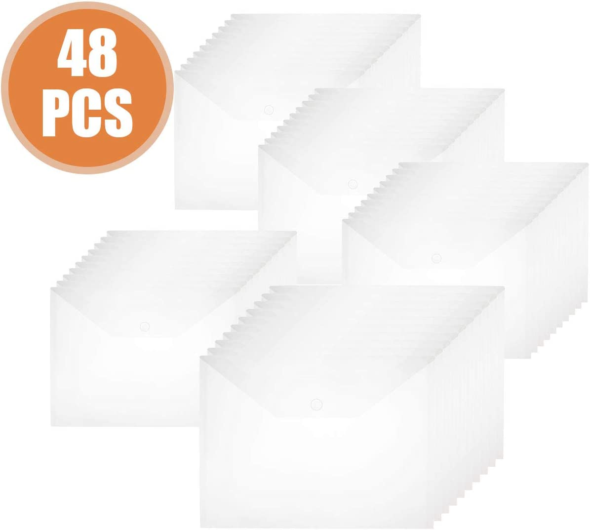 Abuff 48Pcs Plastic Envelopes, Clear Poly Envelopes File Folders with Button for Protecting Documents and Collating Sort, US Letter / A4 Size