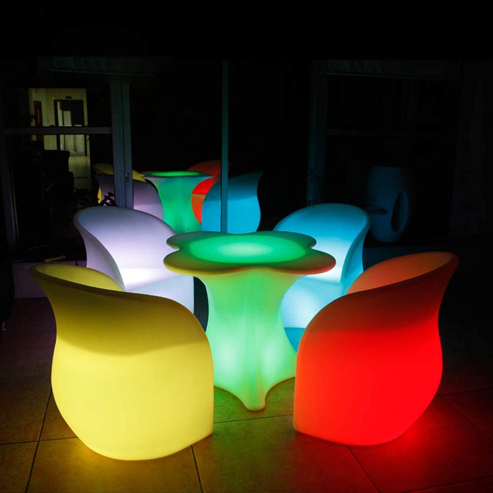 Plastic Furniture Chair Led Llight Patio Dining Chairs for Outdoor Garden Event Decoration Waterproof Sofa Outdoor Party Karaoke Bar Cafe Nightclubs Furniture Set 4PCS Chair 1PCS Table