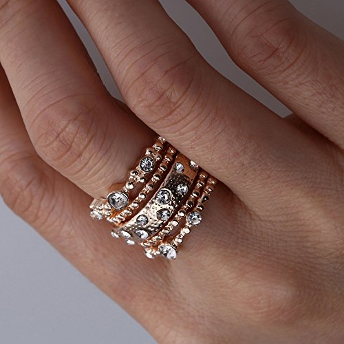 Barhalk 5pcs Shiny Rings Leaf Rhinestone Joint Rings Bohemian Vintage Silver Stack Ring Set Cute Dainty Rings Birthday Party Gifts for Ladies Girls (Gold, 10)