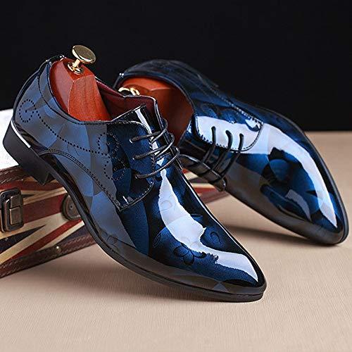 Homme Confort Grande Cuir Bleu D'affaires Mode Lacet Men Chaussures Mariage Miroir Shoes Fleur Taile 1wdg1qSf