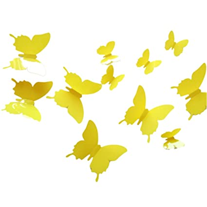 Amazon.com: Sunward 12pcs 3D Butterfly Wall Stickers Butterflies ...