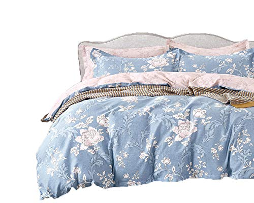 Peony Reversible Floral Print 3-Piece 100% Cotton Bedding Set: Duvet Cover and Two Pillow Shams (King)