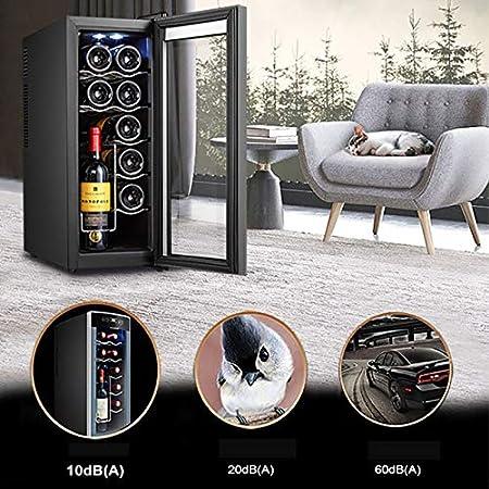 CLING Enfriador de Vino Refrigerador Enfriador Enfriador de encimera Independiente Compacto Mini refrigerador de Vino Capacidad de 12 Botellas Control Digital, Puerta de Vidrio