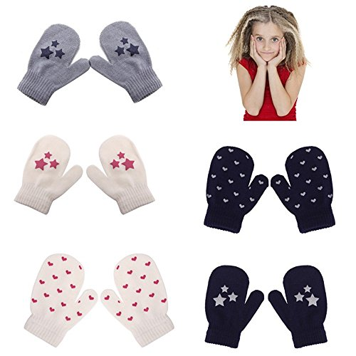 6 Pairs Kids Dot Star Heart Pattern Mittens Boys Girls Soft Knitting Warm Gloves
