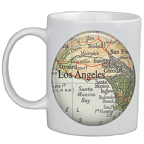 Fashion Coffee Mug,Los Angeles map Coffee Mug,Los Angeles map jewelry,Glendale Santa Monica Burbank Oxnard,map Mug,A0293