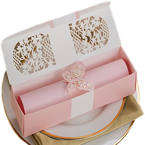 KLN_Dress 50Pcs Scroll Invitations,Scroll Wedding Invitations,Scrollwork Invitation for Wedding Proposal, Invitation or Secret Message (Blank Inside Page, Pink) ()