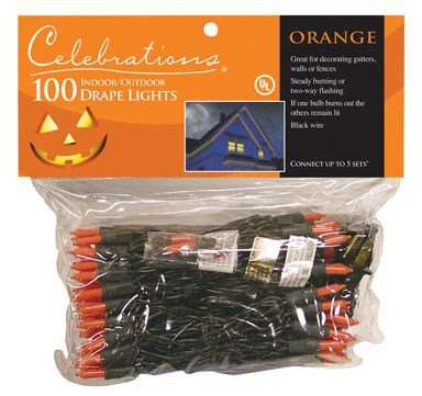 Celebrations Halloween Drape Lights Indoor/Outdoor Orange 4