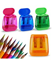 Sonuimy Pencil Sharpeners Bulk,4 Pcs Manual Pencil Sharpeners,Dual Holes Compact Colored Handheld Pencil Sharpeners with Lid for Kids Adults Students School Class Home Office