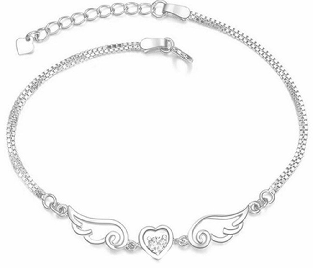 Dulaya Memories Sympathy Gift-Send to Memorial-Funeral or Home of Grieving -I Have You In My Heart Angel Wings Bracelet