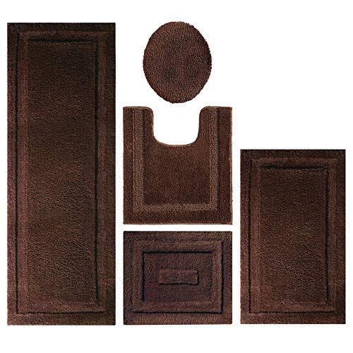 mDesign Soft Microfiber Polyester Bathroom Spa Rug Set - Water Absorbent, Machine Washable, Non-Slip - Includes 3 Rectangular Accent Rugs, Contour Mat, Toilet Lid Cover - Set of 5 - Chocolate Brown ()