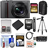 Panasonic Lumix DC-ZS200 4K Wi-Fi Digital Camera (Silver) 64GB Card + Case + Battery + Tripod + Flash Kit