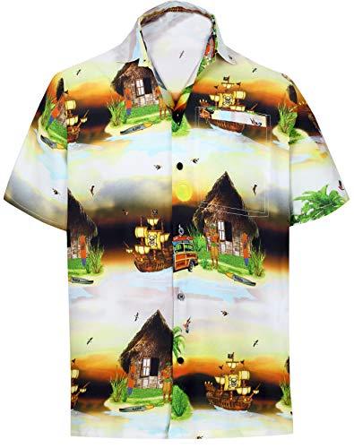 (HAPPY BAY Men Hawaiian Shirt Collar Button Down Black_W602 XS Chest 36