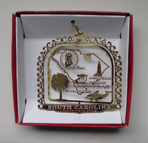 South Carolina Palmetto State Brass ORNAMENT Souvenir Gift