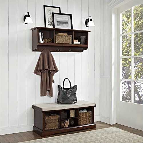 Crosley Furniture Brennan Entryway Storage Bench and Hanging Shelf Set - Vintage Mahogany