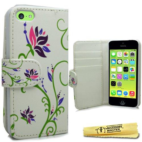 Accessory Master 5055716378672livre Fleurs Design élégant étui en cuir pour Apple iPhone 5C Blanc