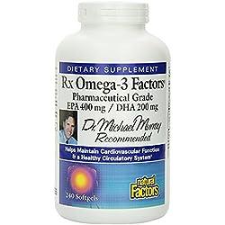 Natural Factors - RxOmega-3 EPA 400mg/DHA 200mg, Pharmaceutical Grade Fish Oil, 240 Soft Gels