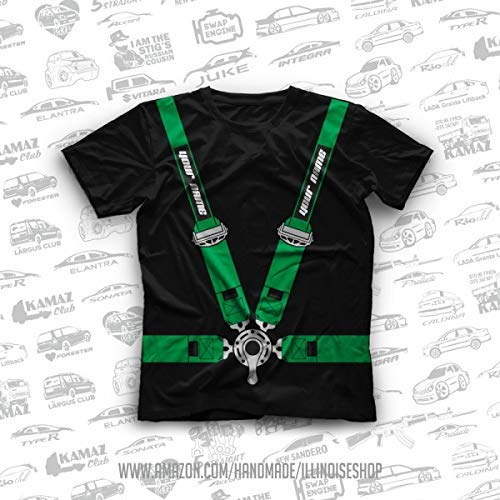 T-shirt with racing seat belts and your lettering Tuning Green Original T-Shirts 100% Cotton Free Shipping ()