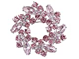 Alilang Womens Diamond Inspired Floral Wreath Holiday Christmas Old Fashion Brooch Pin, Pink