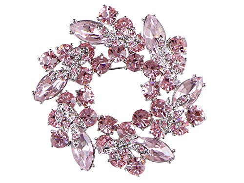 Alilang Womens Diamond Inspired Floral Wreath Holiday Christmas Old Fashion Brooch Pin, Pink (Christmas Wreath Pin)