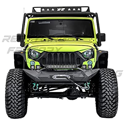 "Restyling Factory - Black Textured Rock Crawler Front Bumper with OE Fog Light Hole, Built-In 21"" ~ 22"" LED Light bar mount, Winch Mount Plate for 07-17 Jeep Wrangler JK (Black)"