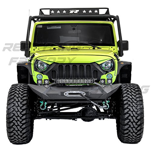 Restyling Factory - Black Textured Rock Crawler Front Bumper with OE Fog Light Hole, Built-In 21