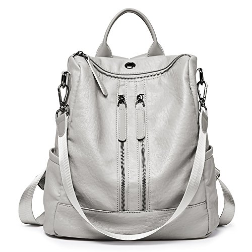 Women Backpack Purse Leather Fashion Travel Casual Detachable Ladies Shoulder Bag Gray