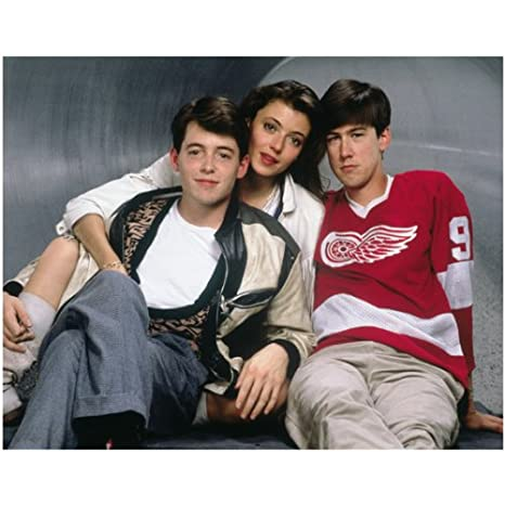 Ferris Bueller s Day Off Matthew Broderick as Ferris Bueller Alan Ruck as Cameron  Frye and Mia Sara as Sloane Peterson Sitting 8 x 10 Inch Photo at Amazon s  ... a316d2b95